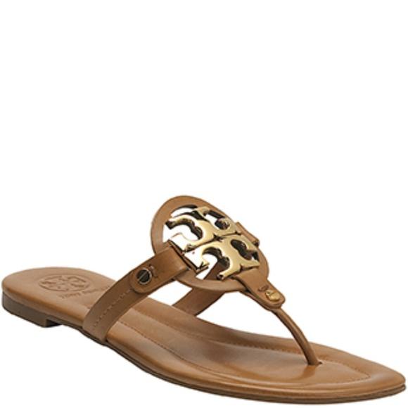479d3114f015 Tory Burch Miller 2 Tan Gold Logo Leather Sandal. M 5b5bc7b2df0307326773a159